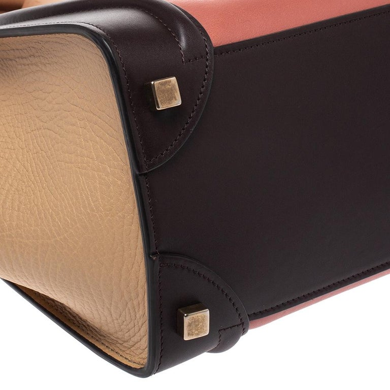 Celine Tri Color Leather Micro Luggage Tote For Sale 3