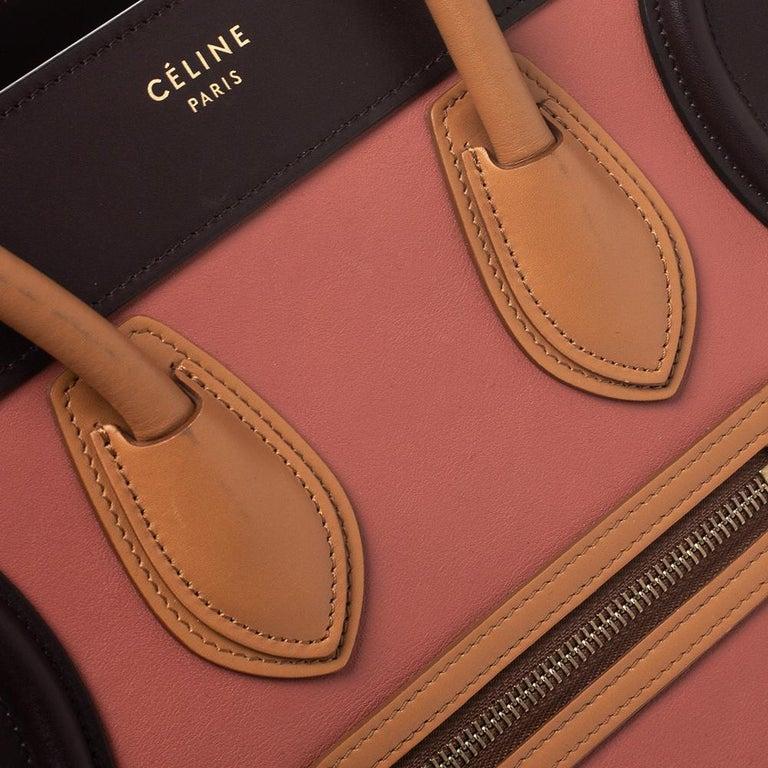 Celine Tri Color Leather Micro Luggage Tote For Sale 5