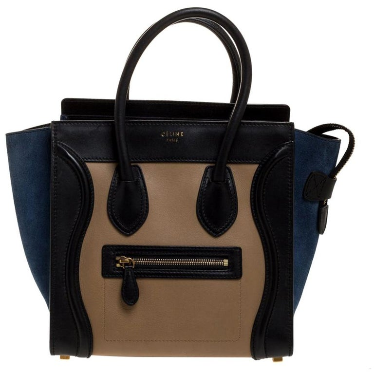 Celine Tri Color Leather Micro Luggage Tote For Sale