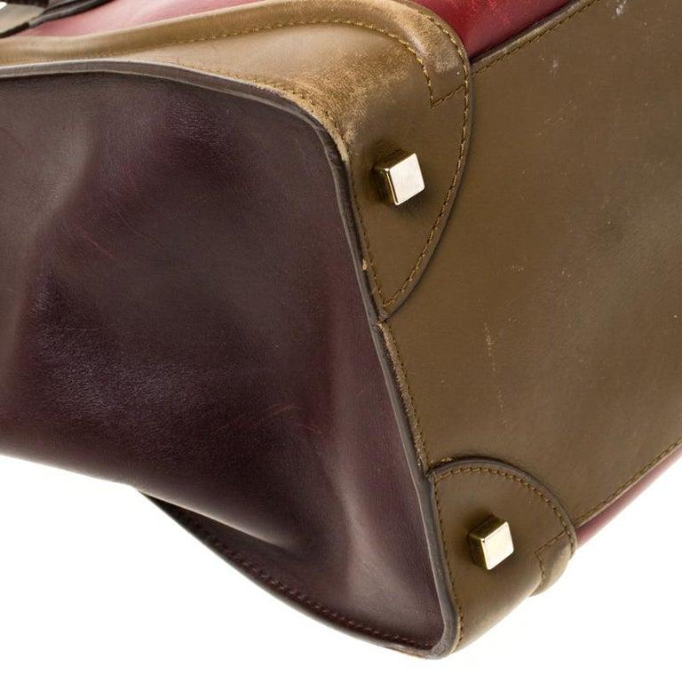 Celine Tri Color Leather Mini Luggage Tote For Sale 6
