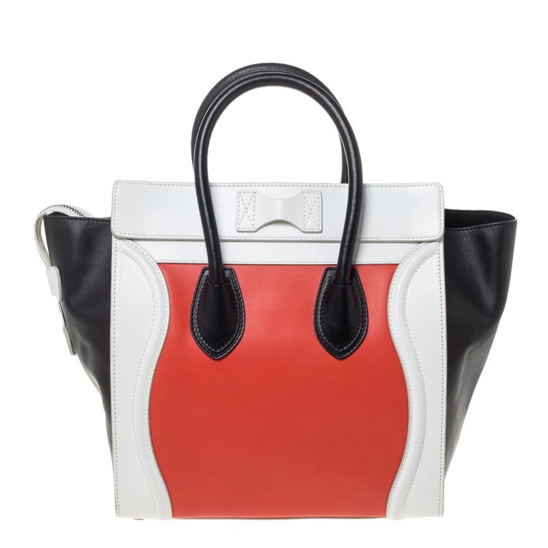Celine Tri Color Leather Mini Luggage Tote For Sale 8