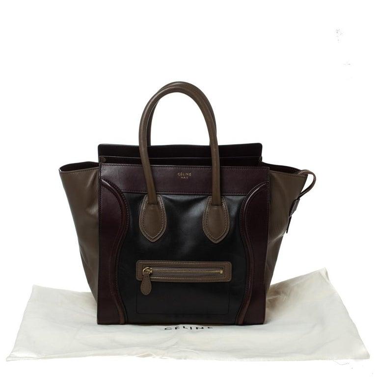 Celine Tri Color Leather Mini Luggage Tote For Sale 9