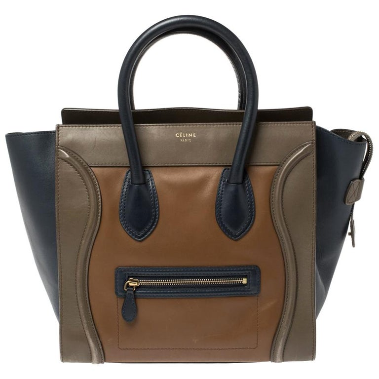 The mini Luggage tote from Celine is one of the most popular handbags in the world. This tote is crafted from leather and designed in multicolor shades. It comes with rolled top handles and a front zip pocket. The bag is equipped with a well-sized
