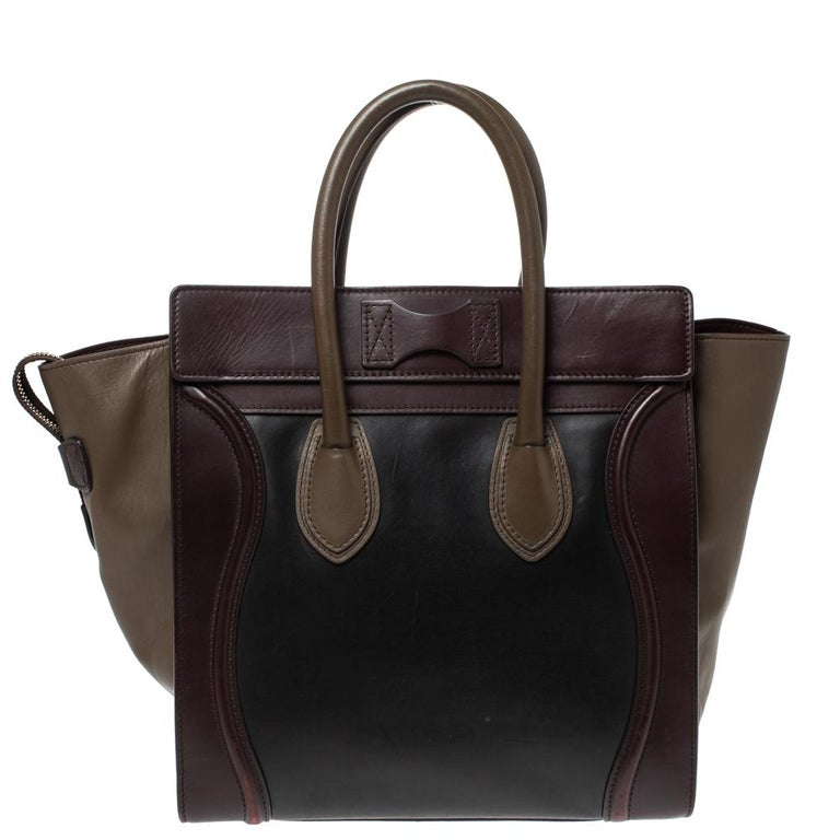 The mini Luggage tote from Celine is one of the most popular handbags in the world. This tote is crafted from leather and designed in multicolors. It comes with rolled top handles and a front zip pocket. The bag is equipped with a well-sized leather