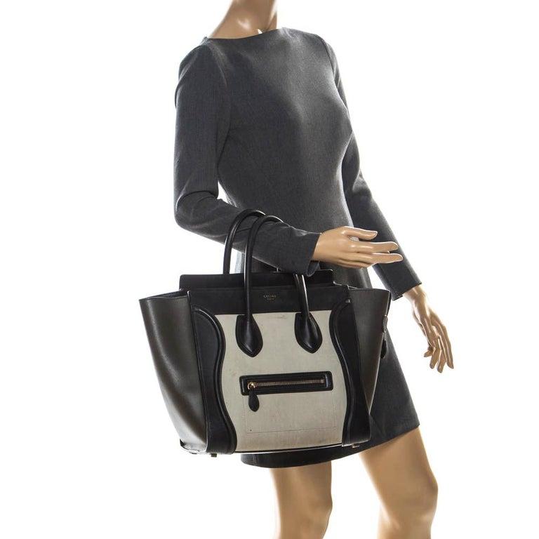 Black Celine Tri Color Leather Mini Luggage Tote For Sale