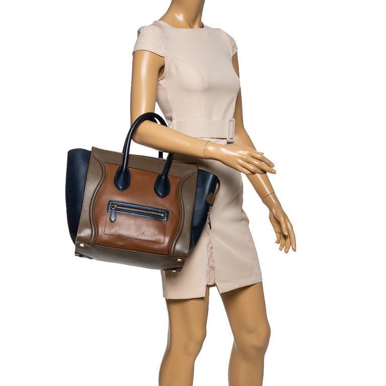 Celine Tri Color Leather Mini Luggage Tote In Good Condition For Sale In Dubai, Al Qouz 2