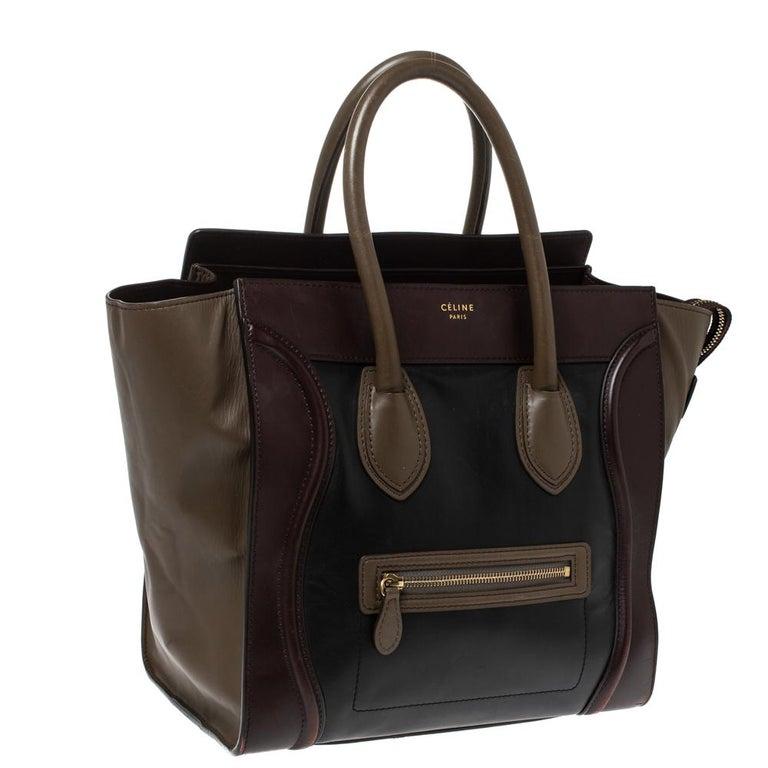 Celine Tri Color Leather Mini Luggage Tote In Fair Condition For Sale In Dubai, Al Qouz 2
