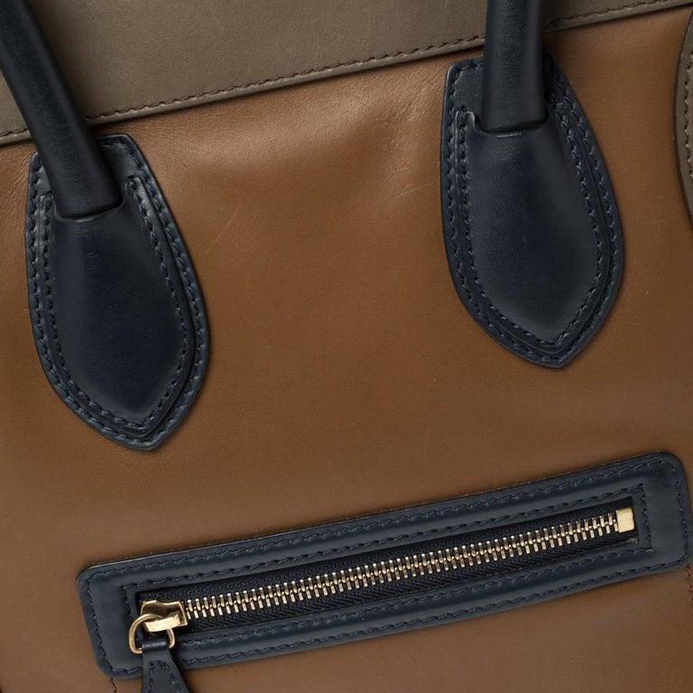 Celine Tri Color Leather Mini Luggage Tote For Sale 3