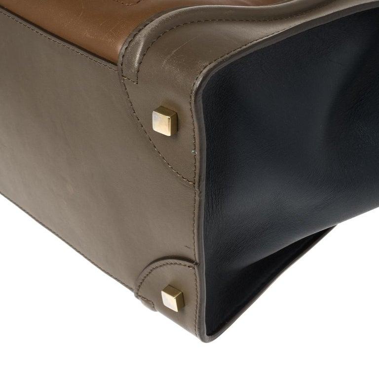 Celine Tri Color Leather Mini Luggage Tote For Sale 4