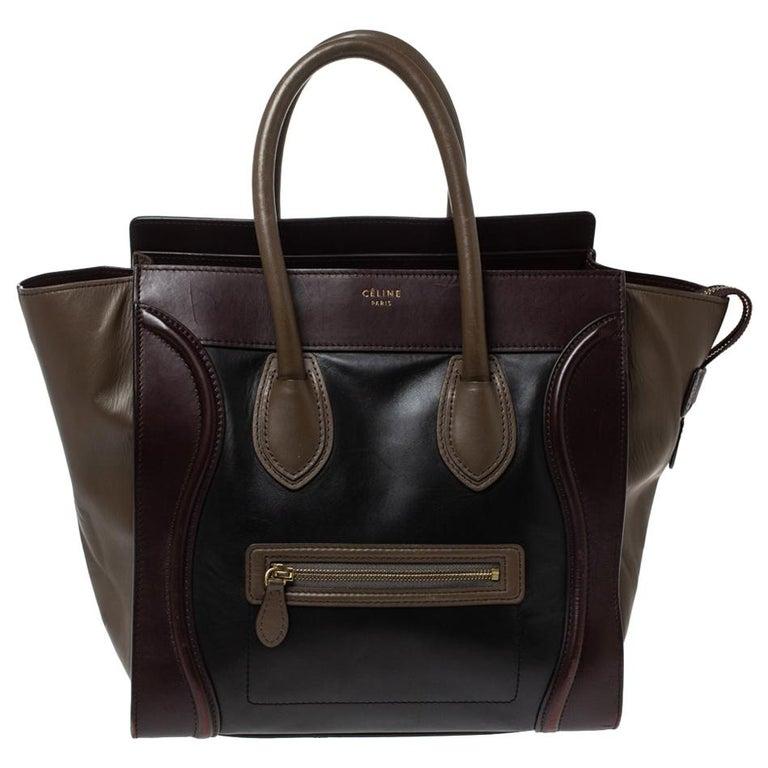 Celine Tri Color Leather Mini Luggage Tote For Sale