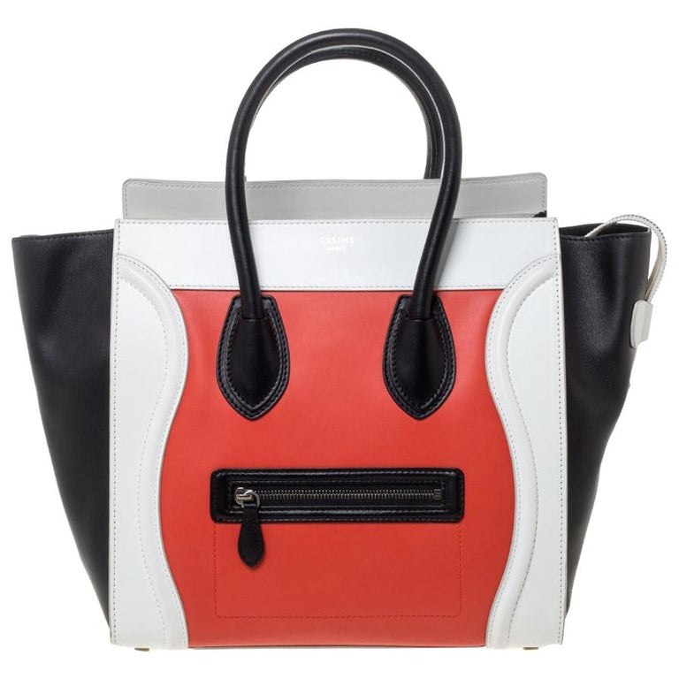 Celine Tri Color Leather Mini Luggage Tote For Sale