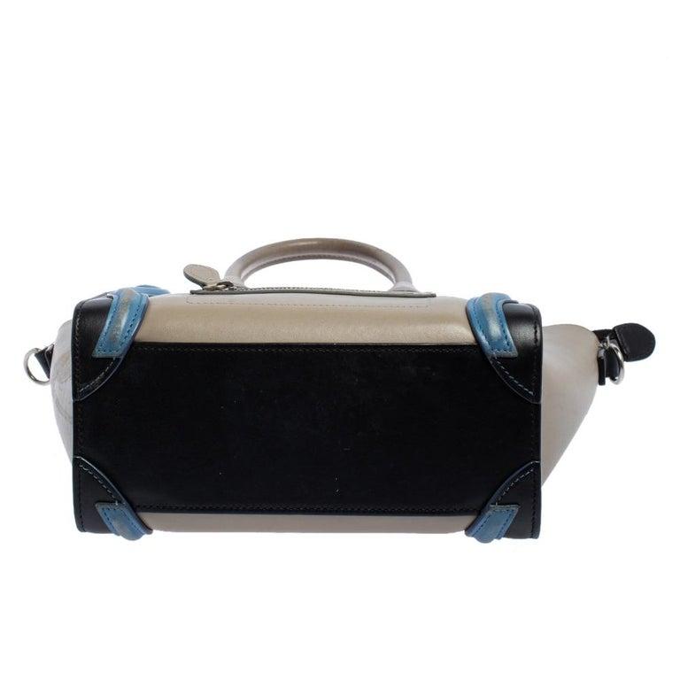 Celine Tri Color Leather Nano Luggage Tote For Sale 5