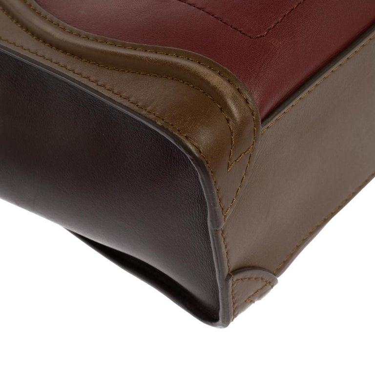 Celine Tri Color Leather Nano Luggage Tote For Sale 6