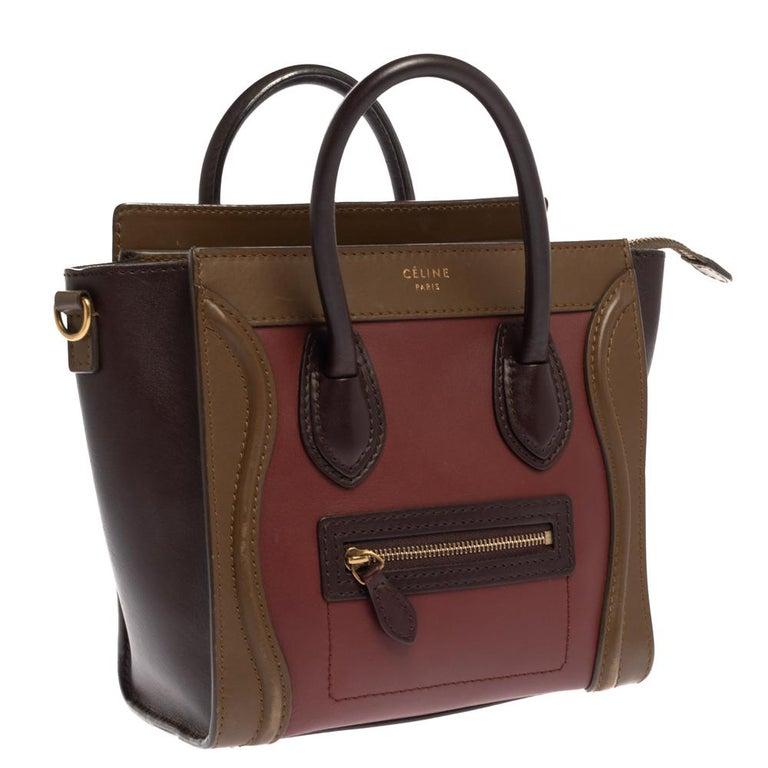 Black Celine Tri Color Leather Nano Luggage Tote For Sale