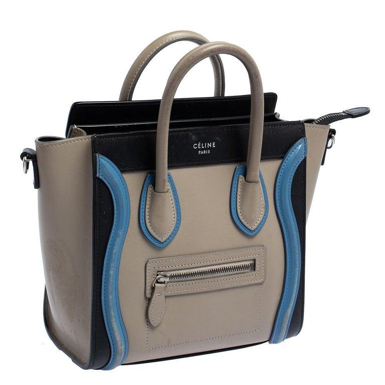 Gray Celine Tri Color Leather Nano Luggage Tote For Sale