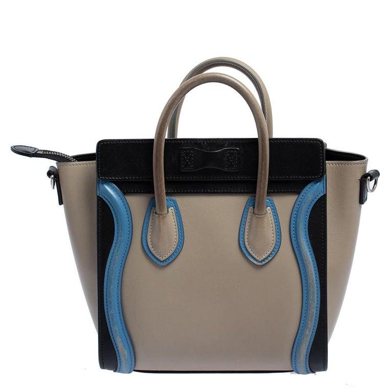 Celine Tri Color Leather Nano Luggage Tote In Good Condition For Sale In Dubai, Al Qouz 2