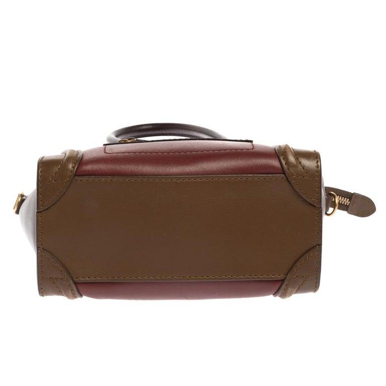 Women's Celine Tri Color Leather Nano Luggage Tote For Sale