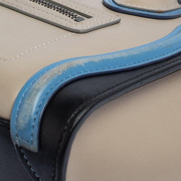 Celine Tri Color Leather Nano Luggage Tote For Sale 2