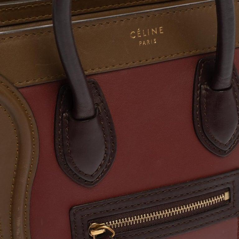 Celine Tri Color Leather Nano Luggage Tote For Sale 4