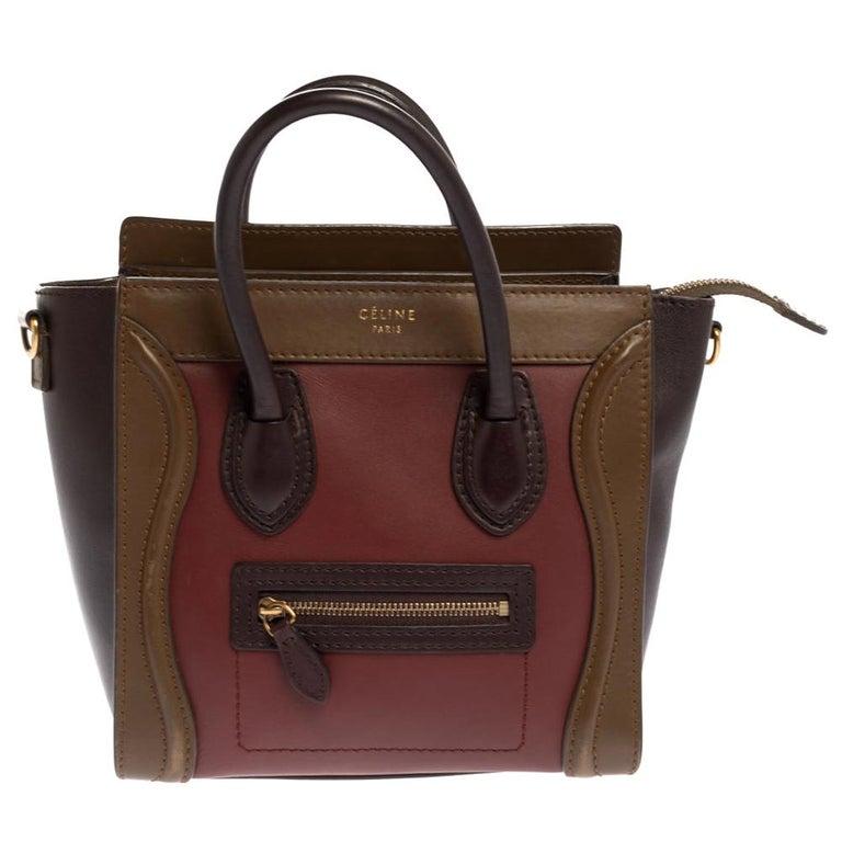 Celine Tri Color Leather Nano Luggage Tote For Sale