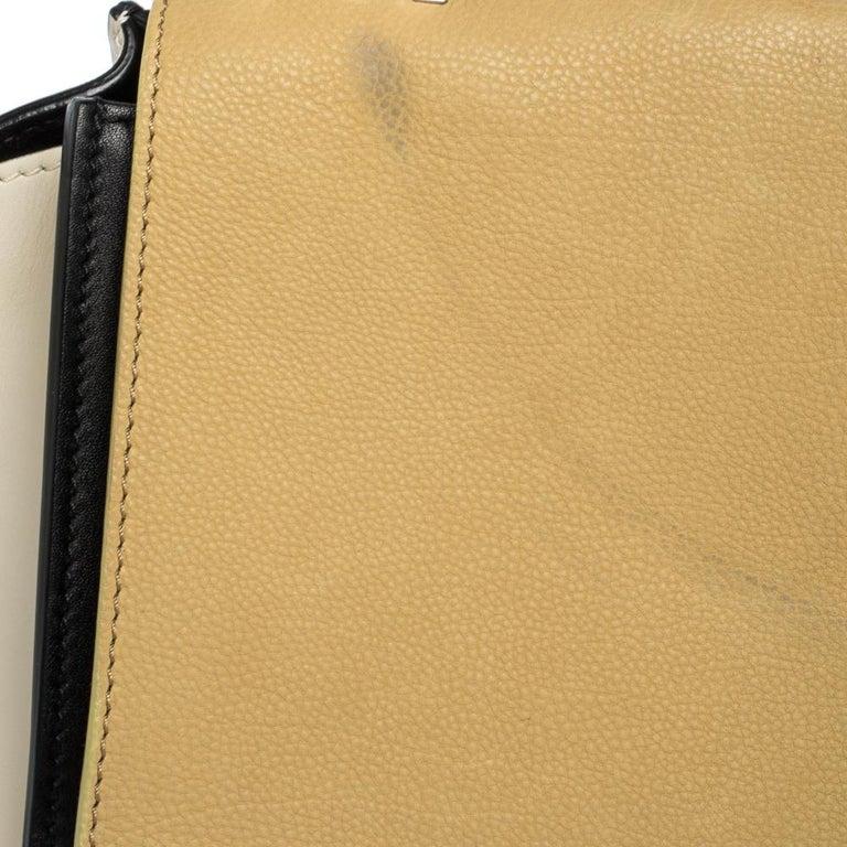 Celine Tri Color Nubuck and Leather Medium Trapeze Bag For Sale 6