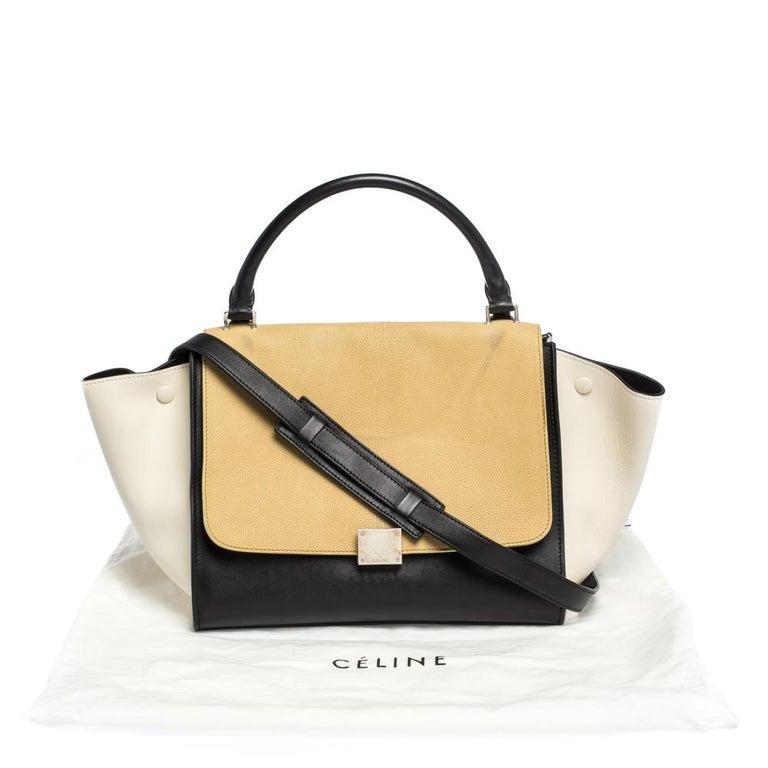 Celine Tri Color Nubuck and Leather Medium Trapeze Bag For Sale 9