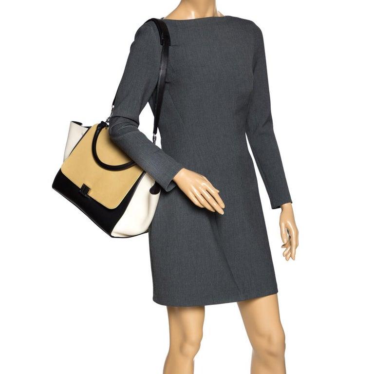 Beige Celine Tri Color Nubuck and Leather Medium Trapeze Bag For Sale