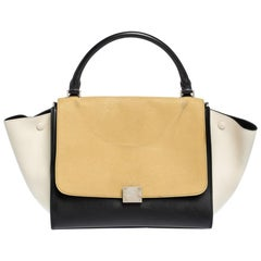Celine Tri Color Nubuck and Leather Medium Trapeze Bag