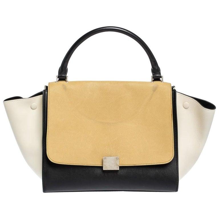 Celine Tri Color Nubuck and Leather Medium Trapeze Bag For Sale