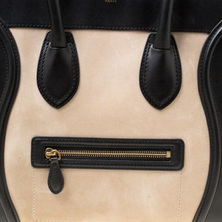 Celine Tri Color Nubuck and Leather Mini Luggage Tote For Sale 5