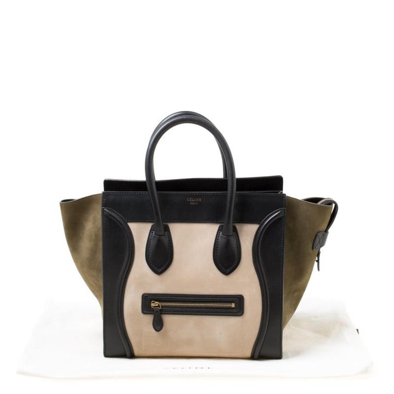 Celine Tri Color Nubuck and Leather Mini Luggage Tote For Sale 6