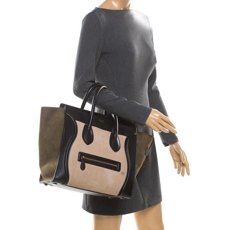 Black Celine Tri Color Nubuck and Leather Mini Luggage Tote For Sale