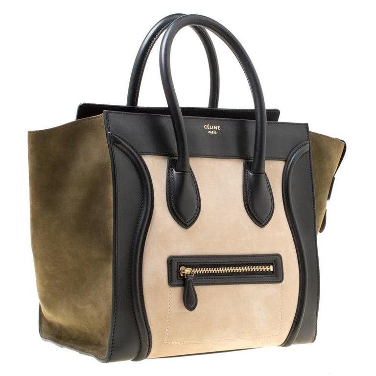 Celine Tri Color Nubuck and Leather Mini Luggage Tote In Good Condition For Sale In Dubai, Al Qouz 2