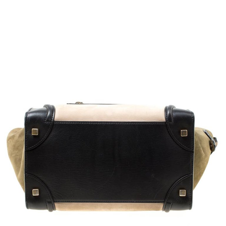 Women's Celine Tri Color Nubuck and Leather Mini Luggage Tote For Sale