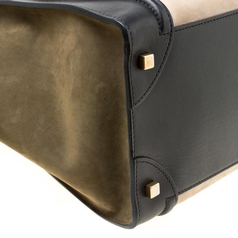 Celine Tri Color Nubuck and Leather Mini Luggage Tote For Sale 1