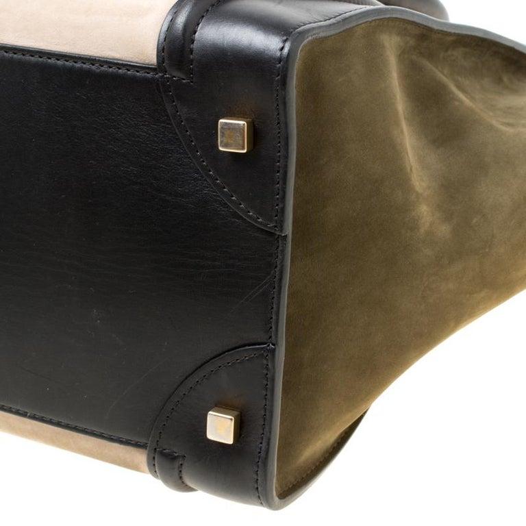 Celine Tri Color Nubuck and Leather Mini Luggage Tote For Sale 2