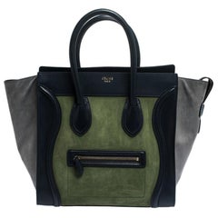 Celine Tri Color Nubuck and Leather Mini Luggage Tote