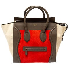 Celine Tri Color Pony Hair and Leather Mini Luggage Tote