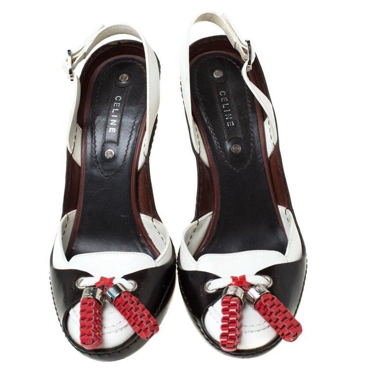 Black Celine Tri Color Tassel Leather Slingback Sandals Size 37.5 For Sale