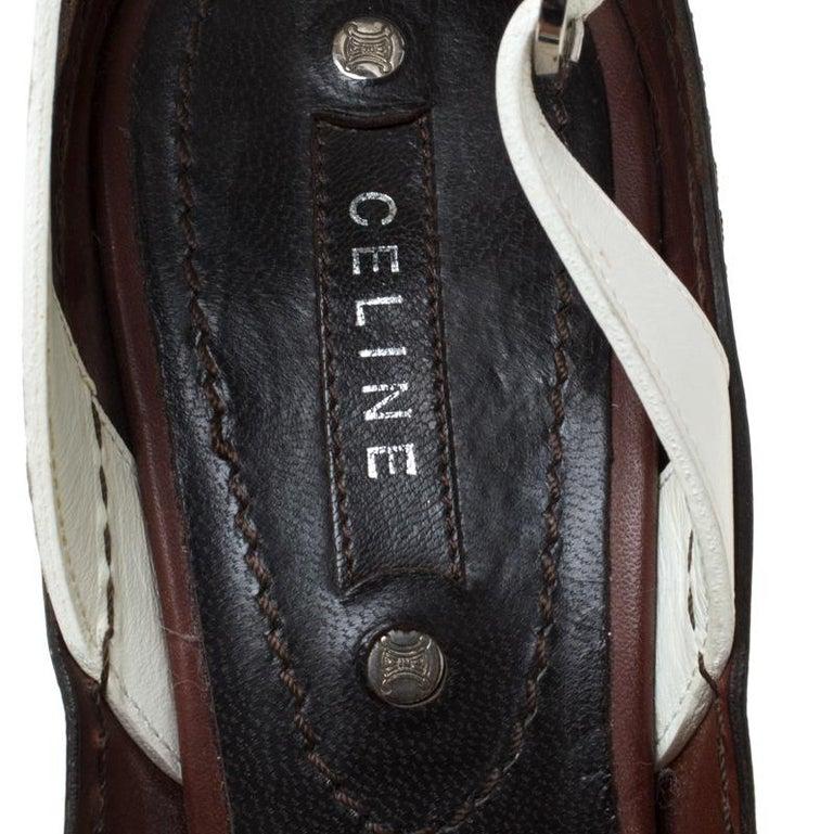 Women's Celine Tri Color Tassel Leather Slingback Sandals Size 37.5 For Sale