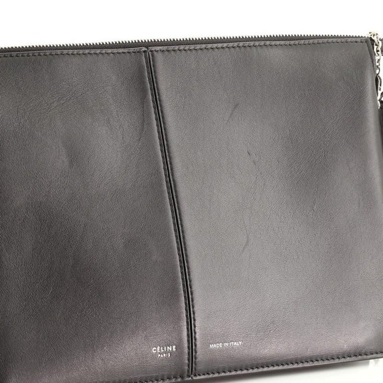 Celine Tri-Fold Clutch on Chain Smooth Leather For Sale 1