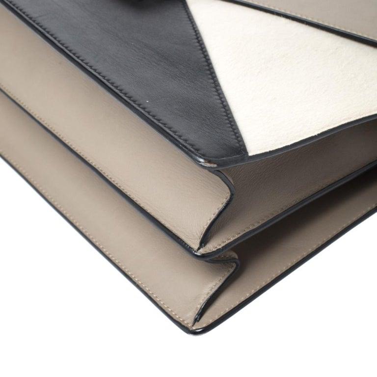 Celine Tricolor Leather and Calfhair Medium Diamond Shoulder Bag For Sale 5