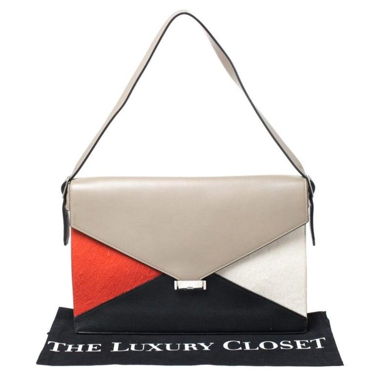 Celine Tricolor Leather and Calfhair Medium Diamond Shoulder Bag For Sale 6