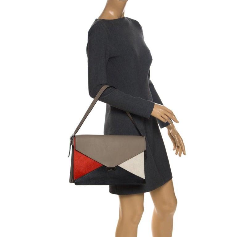 Beige Celine Tricolor Leather and Calfhair Medium Diamond Shoulder Bag For Sale