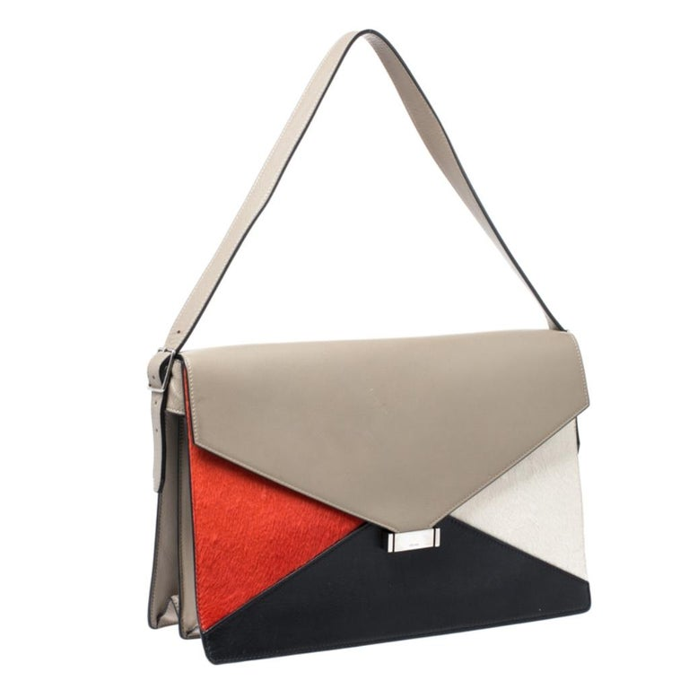 Celine Tricolor Leather and Calfhair Medium Diamond Shoulder Bag In Good Condition For Sale In Dubai, Al Qouz 2
