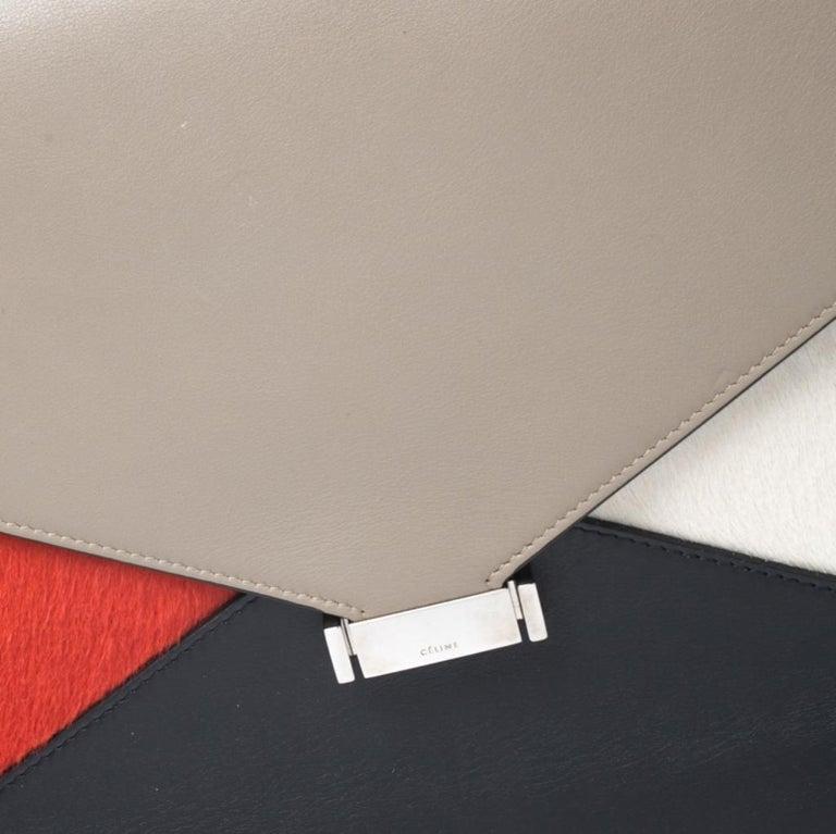 Celine Tricolor Leather and Calfhair Medium Diamond Shoulder Bag For Sale 1
