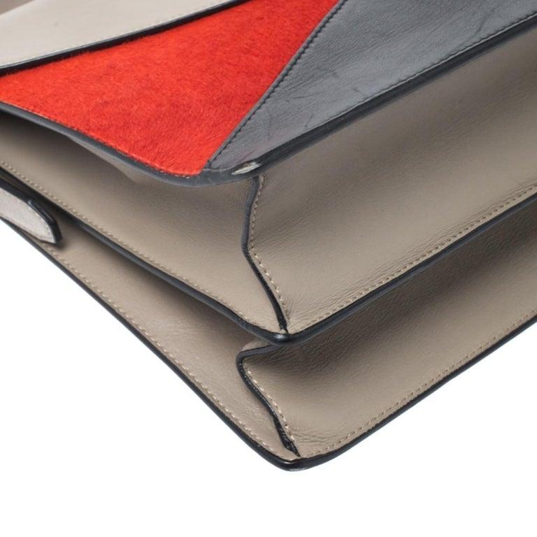 Celine Tricolor Leather and Calfhair Medium Diamond Shoulder Bag For Sale 3