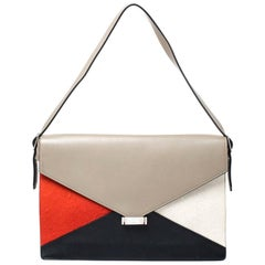 Celine Tricolor Leather and Calfhair Medium Diamond Shoulder Bag