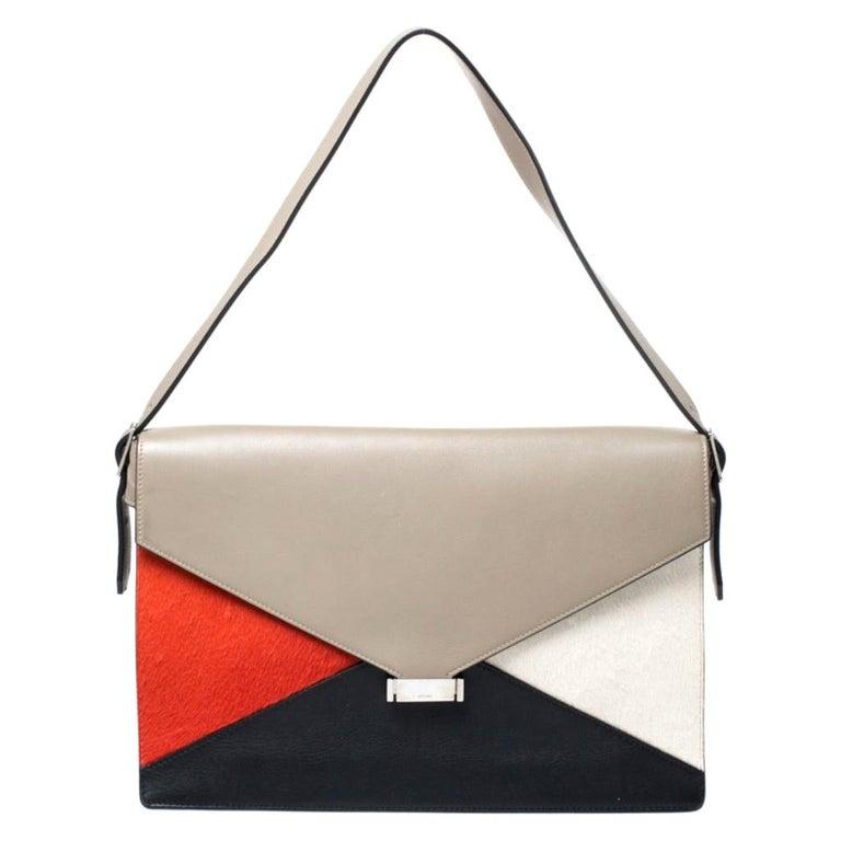 Celine Tricolor Leather and Calfhair Medium Diamond Shoulder Bag For Sale