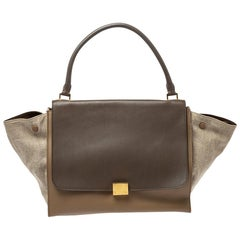 Celine Tricolor Leather and Canvas Large Trapeze Bag